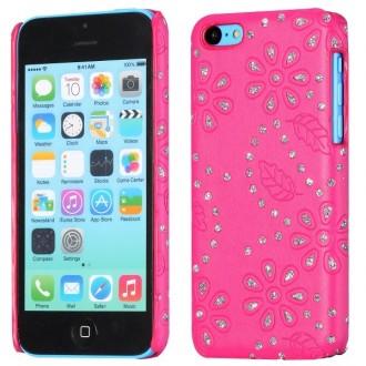Coque iPhone 5C Simili-cuir rose et Strass