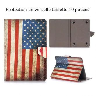 Etui talblette universel 10 pouces drapeau USA vintage