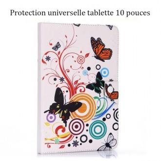 Etui tablette universel 10 pouces motif Papillons et cercles