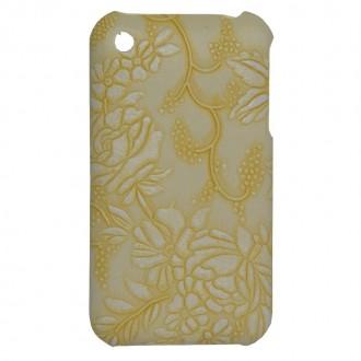 Coque iPhone 3G / 3GS Fleurs et raisins jaune clair