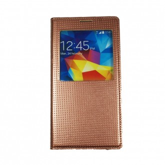 Etui Galaxy S5 flip cover S-View bronze + câble + stylet - Crazy Kase