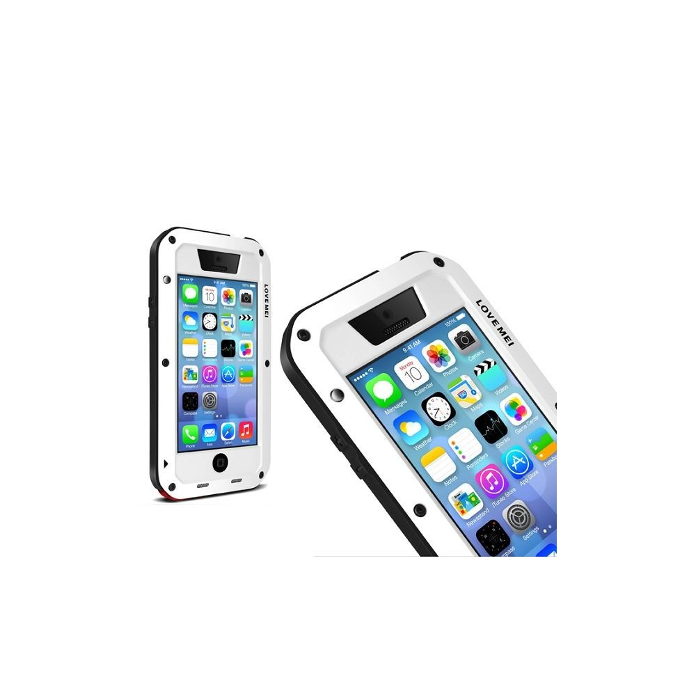 coque iphone 5c etanche antichocs aluminium blanche love mei. Black Bedroom Furniture Sets. Home Design Ideas