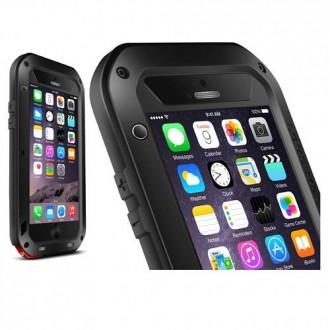 Coque iPhone 6 Plus Etanche Antichocs Aluminium Noire - LOVE MEI