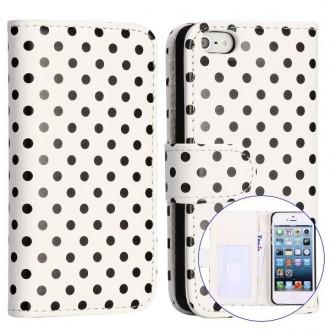 Crazy Kase - Etui iPhone 5 / 5s Simili-cuir Blanc à pois Noir