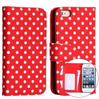 Crazy Kase - Etui iPhone 5 / 5s Simili-cuir Rouge à pois Blanc