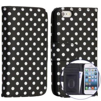 Crazy Kase - Etui iPhone 5 / 5s Simili-cuir Noir à pois Blanc