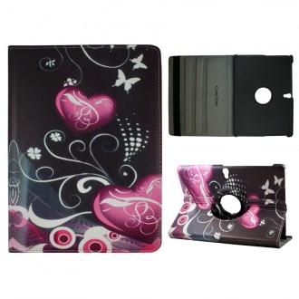Crazy Kase - Etui Galaxy Tab S 10.5 Rotatif 360° Papillons et Coeurs