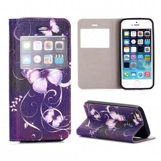 Etui iPhone SE / 5S / 5 avec fenêtre de visualisation motif Papillons Violets - Crazy Kase
