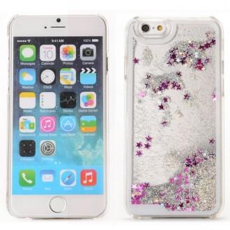 Coque iPhone 6 / 6S à Paillettes Argentées et Etoiles Roses - Crazy Kase