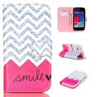 Etui Wiko Sunset 2 motif Smile Rose et Gris - Crazy Kase