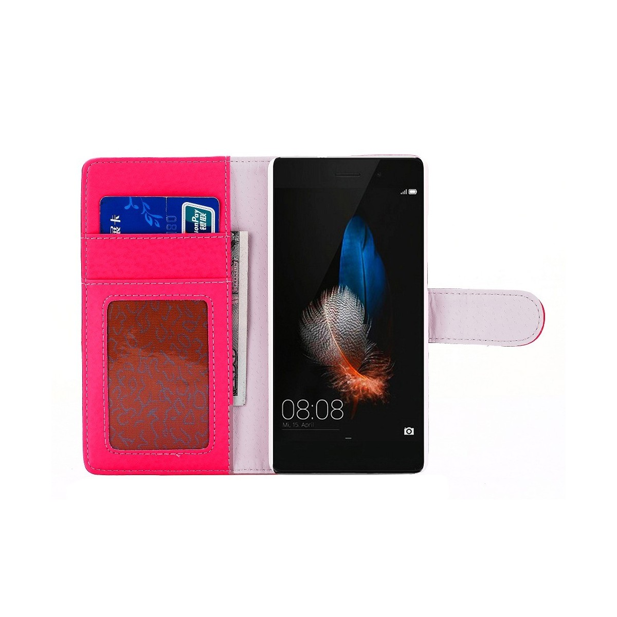 Etui Huawei P8 Lite Portecartes Rouge - Crazy Kase