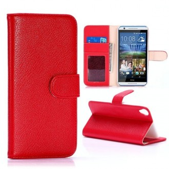 Etui HTC Desire 820 Portecartes Rouge - Crazy Kase