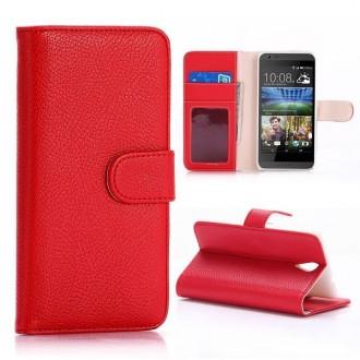 Etui HTC Desire 620 Portecartes Rouge - Crazy Kase