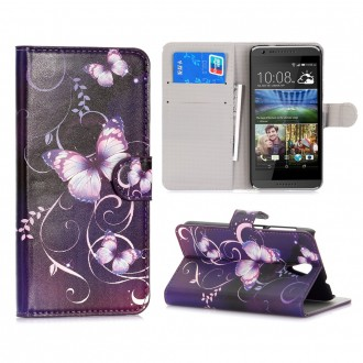 Etui HTC Desire 620 motif Papillons Violets - Crazy Kase