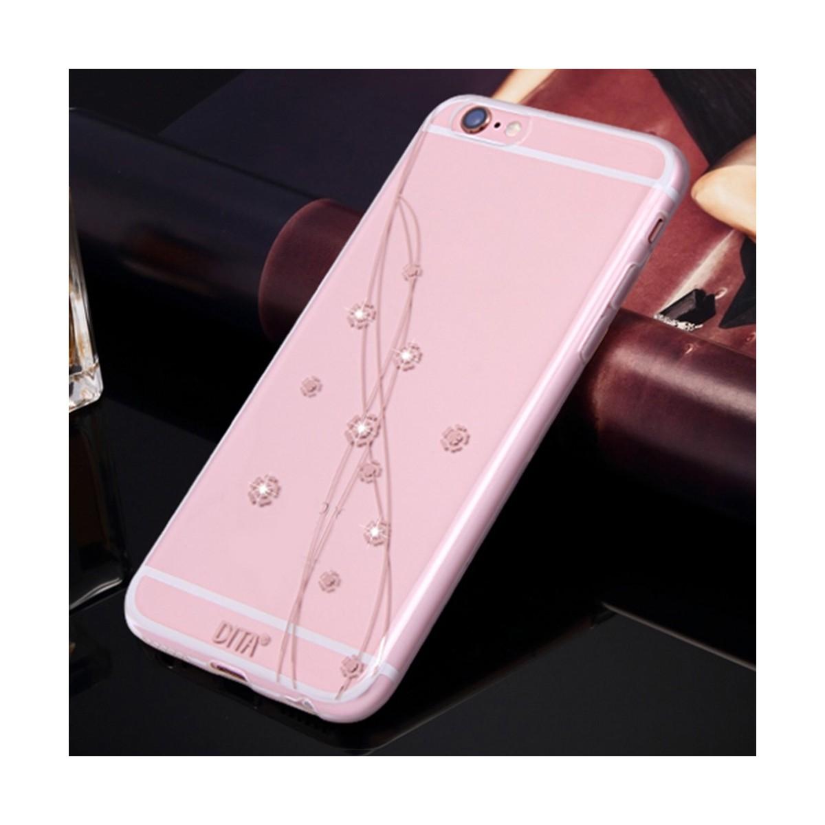 Coque iPhone 6 Plus / 6s Plus Transparente Petites Fleurs et Strass - Dita