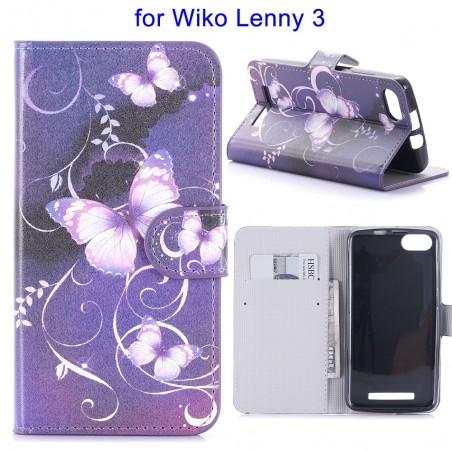 Etui Wiko Lenny 3 motif Papillons Violets - Crazy Kase