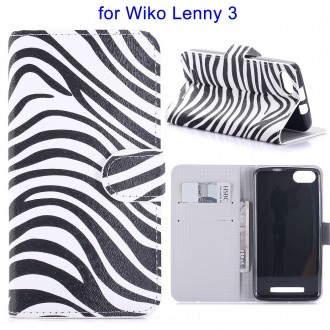 Etui Wiko Lenny 3 motif Zébré Noir et Blanc - Crazy Kase