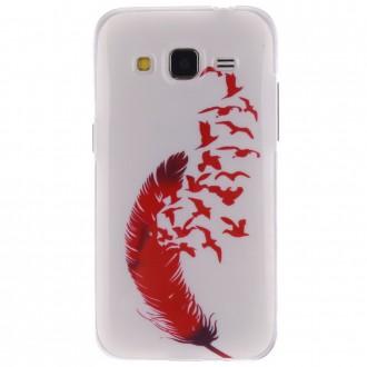 Coque Galaxy Core Prime motif Plume et Oiseaux Rouge Silicone - Crazy Kase