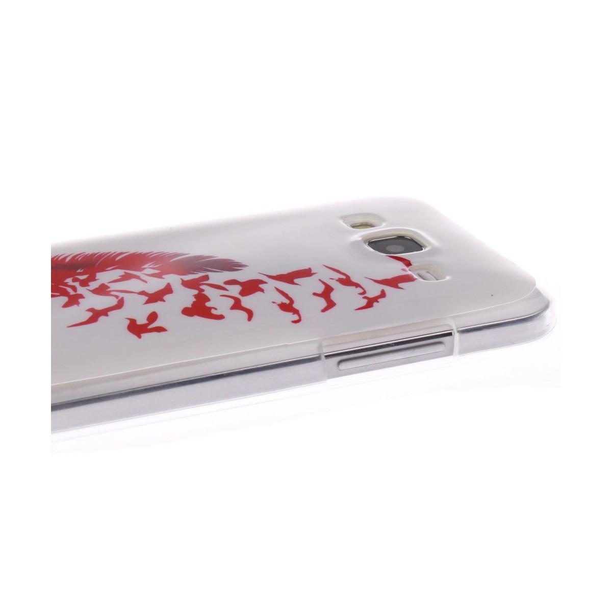 Coque Galaxy Core Prime motif Plume et Oiseaux Rouge - Crazy Kase