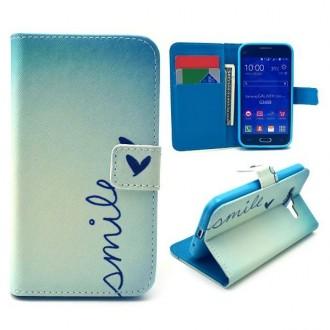 Etui Galaxy Core Prime Bleue motif Smile et Papillon - Crazy Kase