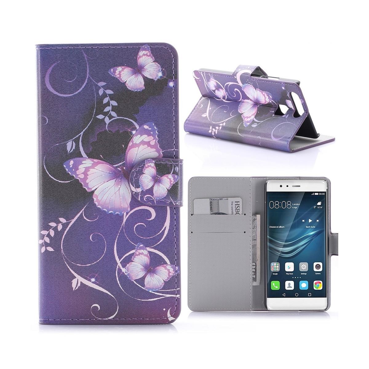 Etui Huawei P9 motif Papillons Violets - Crazy Kase