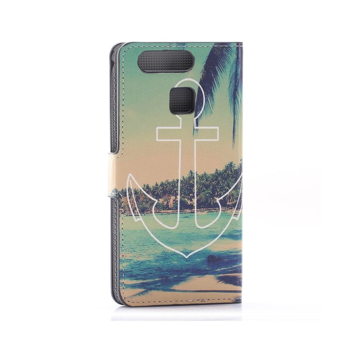 Etui Huawei P9 motif Plage d'île et palmiers avec Ancre - Crazy Kase