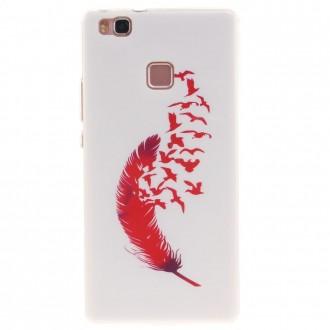 Coque Huawei P9 Lite Noire motif Plume et Oiseaux Rouge - Crazy Kase