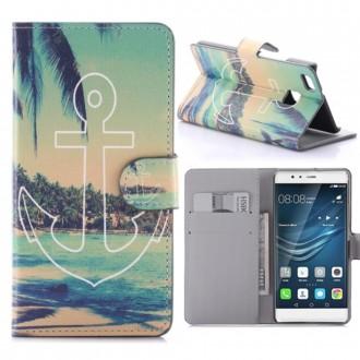 Etui Huawei P9 Lite motif Plage d'île et palmiers avec Ancre - Crazy Kase