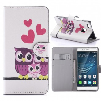 Etui Huawei P9 Lite motif Couple de Chouete - Crazy Kase