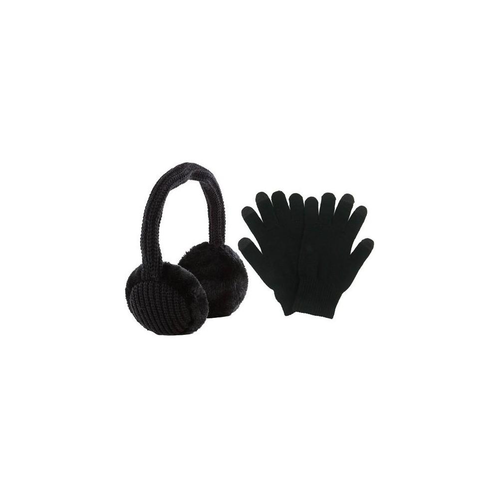 Pack casque EarMuffs + paire de gants noir