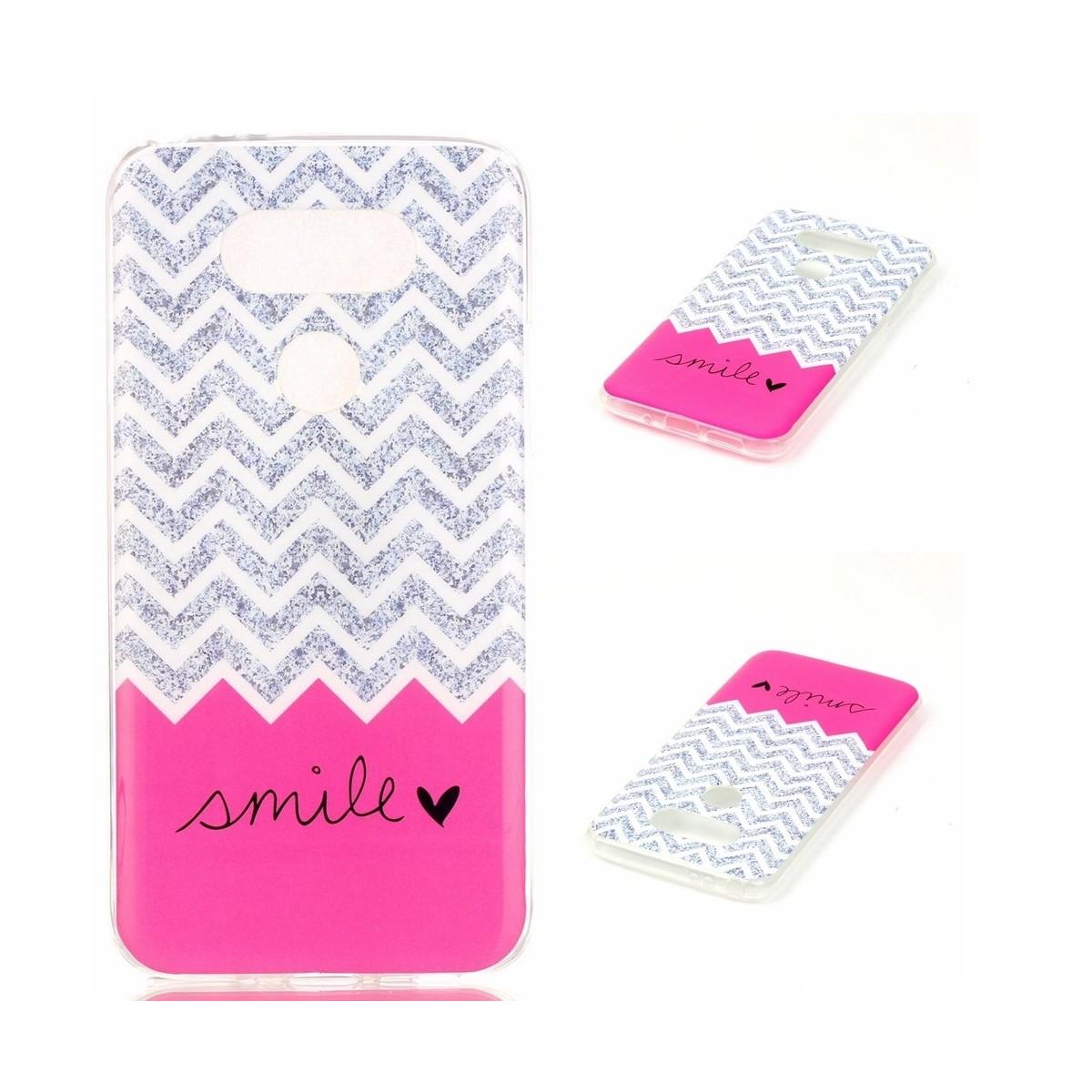 Coque LG G5 motif Smile Rose et Grise - Crazy Kase