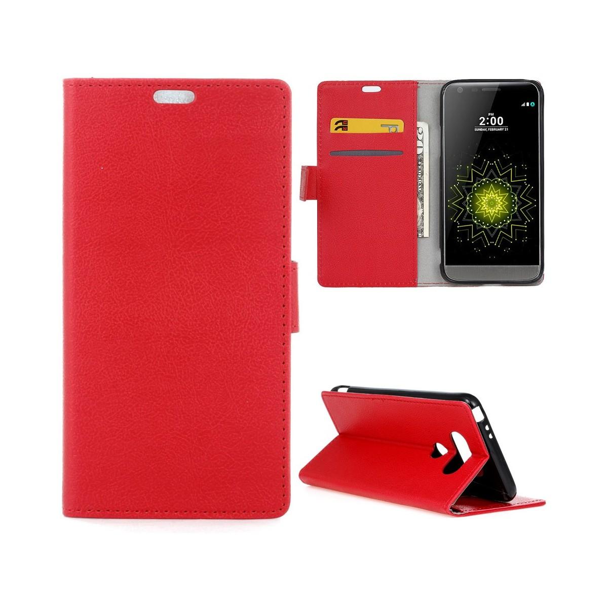 Etui LG G5 Portecartes Rouge - Crazy Kase