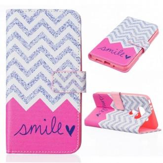 Etui LG G5 motif Smile Rose et Gris - Crazy Kase
