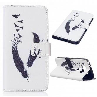 Etui LG G5 Blanc motif Plume et oiseaux noirs - Crazy Kase