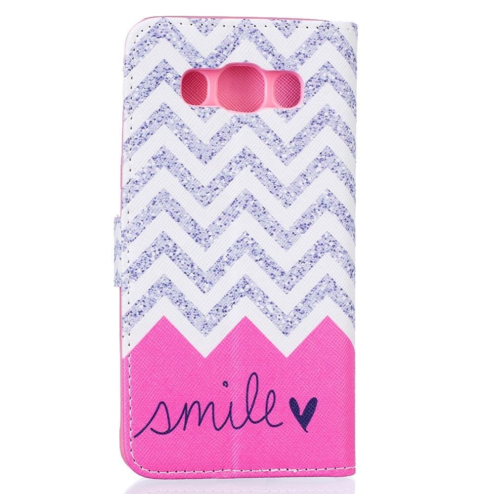 Etui Galaxy J5 (2016) motif Smile Grise et Rose - Crazy Kase