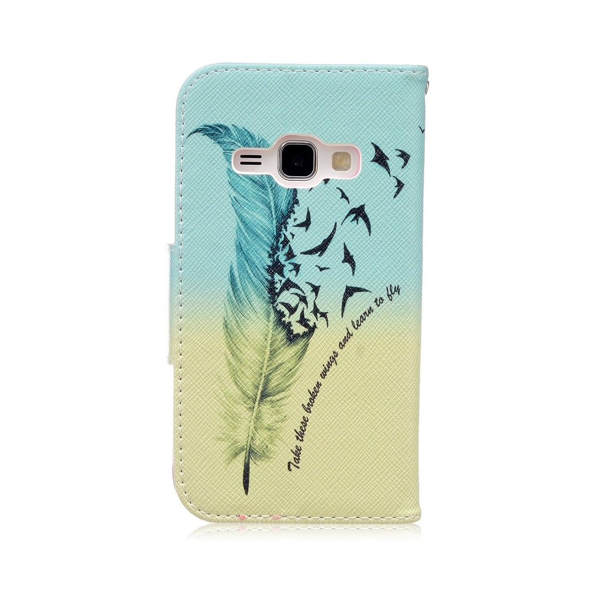 Etui Galaxy J1 (2016) motif Plume et Oiseaux sur fond bleu et vert - Crazy Kase