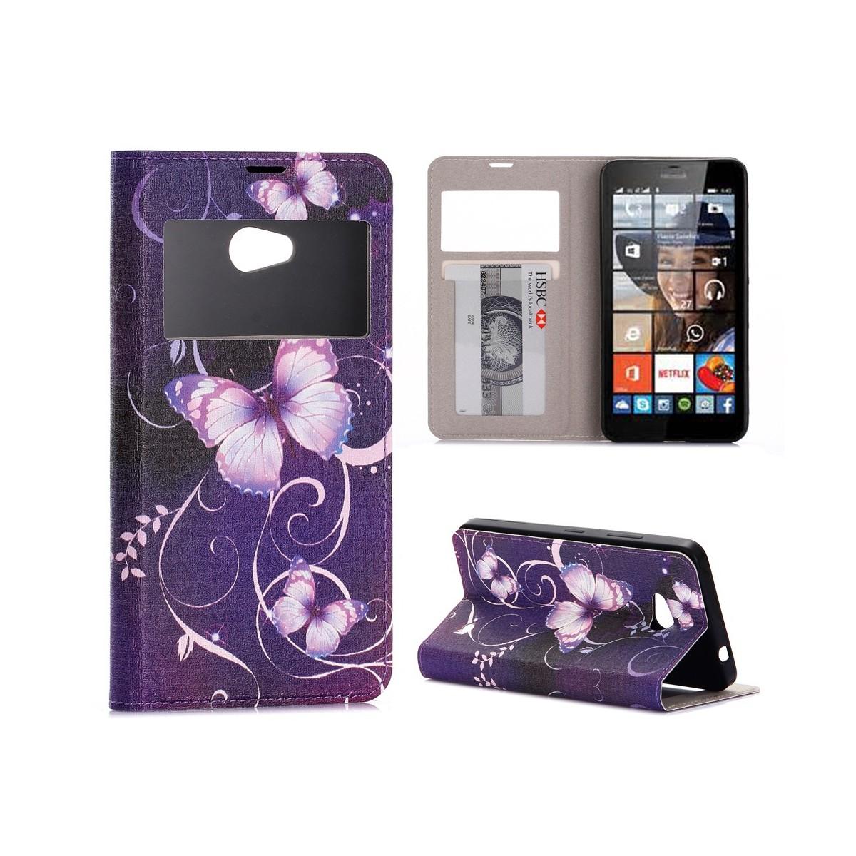 Etui Microsoft Lumia 640 avec fenêtre de visualisation motif Papillons Violets - Crazy Kase