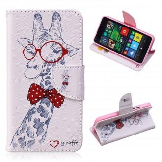 Etui Microsoft Lumia 640 motif Drôle de Giraffe avec Noeud Papillon Rouge - Crazy Kase