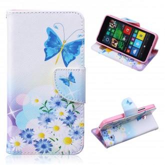 Etui Microsoft Lumia 640 motif Bouquet de Fleurs et Papillon Bleu - Crazy Kase