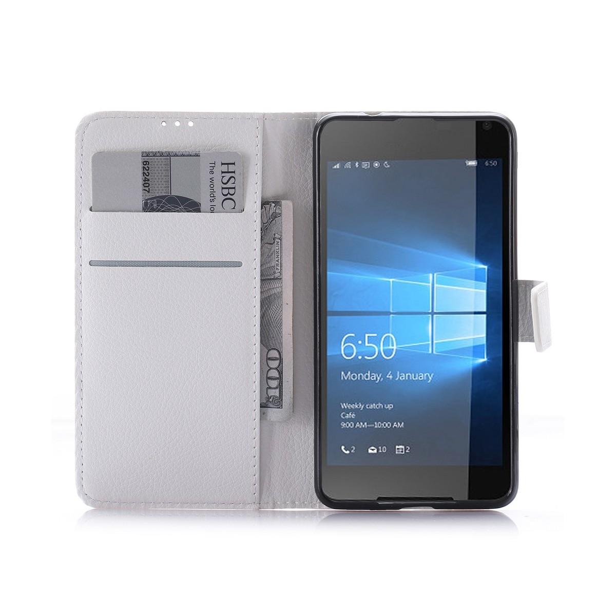 Etui Microsoft Lumia 650 Porte Cartes Uni Blanc- Crazy Kase