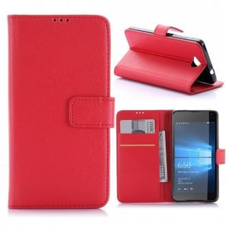 Etui Microsoft Lumia 650 Porte Cartes Uni Rouge - Crazy Kase