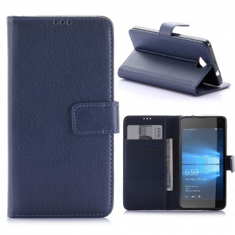 Etui Microsoft Lumia 650 Porte Cartes Bleu Marine - Crazy Kase