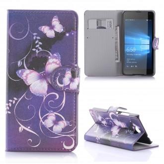 Etui Microsoft Lumia 650 motif Papillons Violets - Crazy Kase
