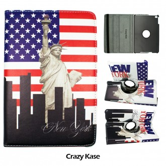 Etui iPad Mini 4 rotatif 360° motif Drapeau USA et Statue de la Liberté - Crazy Kase