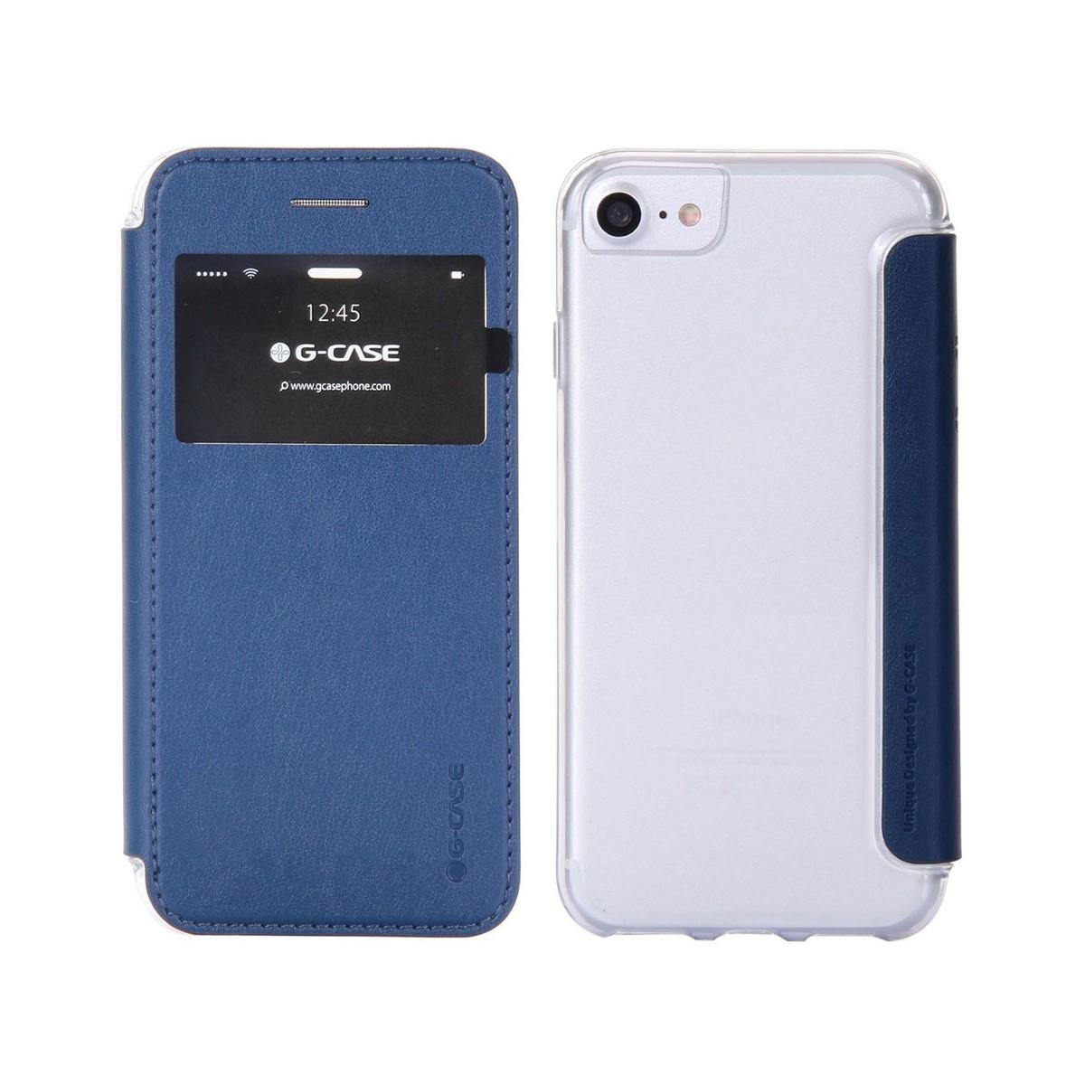 Etui iPhone 7 Bleu Nuit avec fenêtre - G-Case