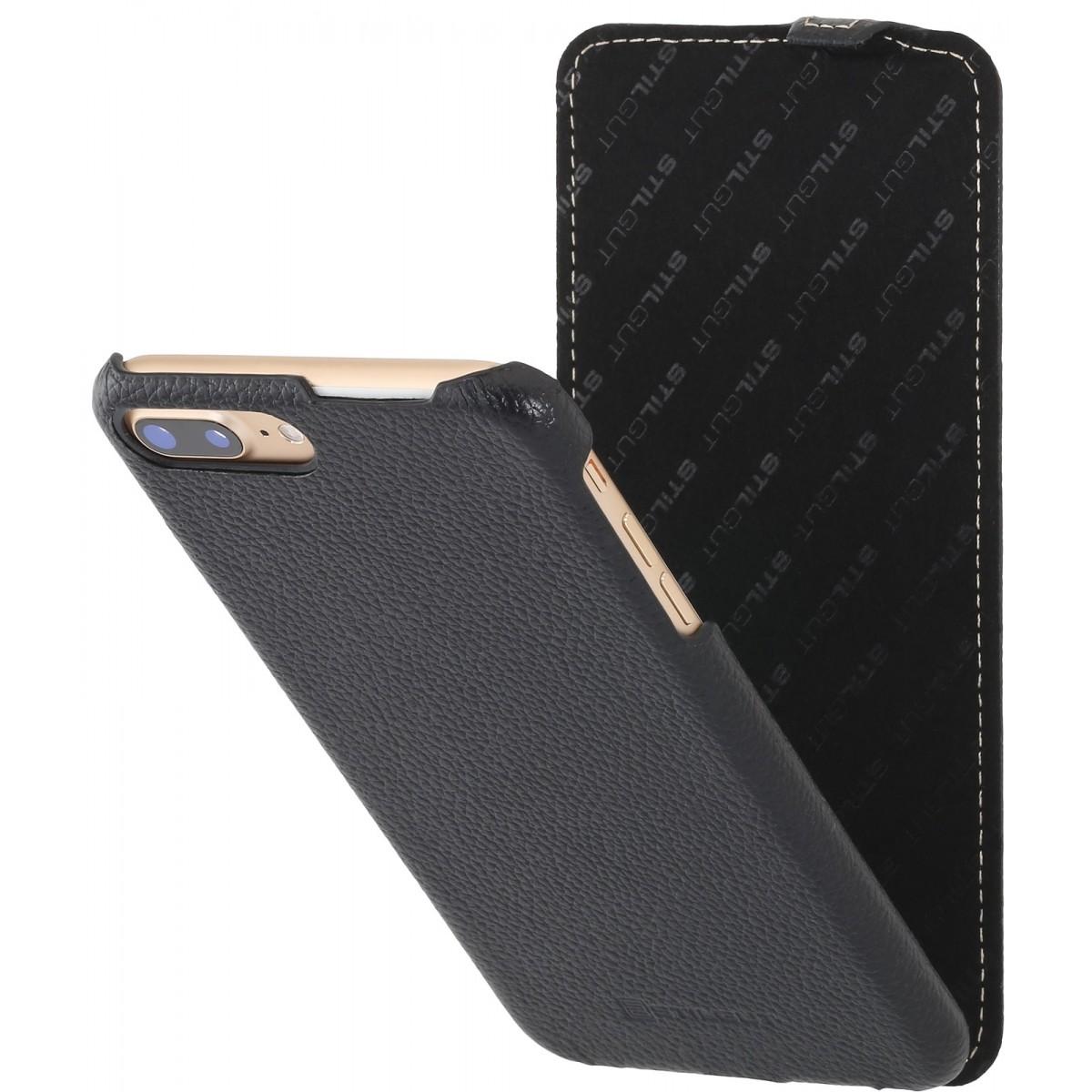 Etui en cuir véritable iPhone 7 Plus ultraslim Noir - Stilgut