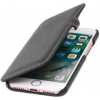 Etui iPhone 7 book type noir en cuir véritable - Stilgut