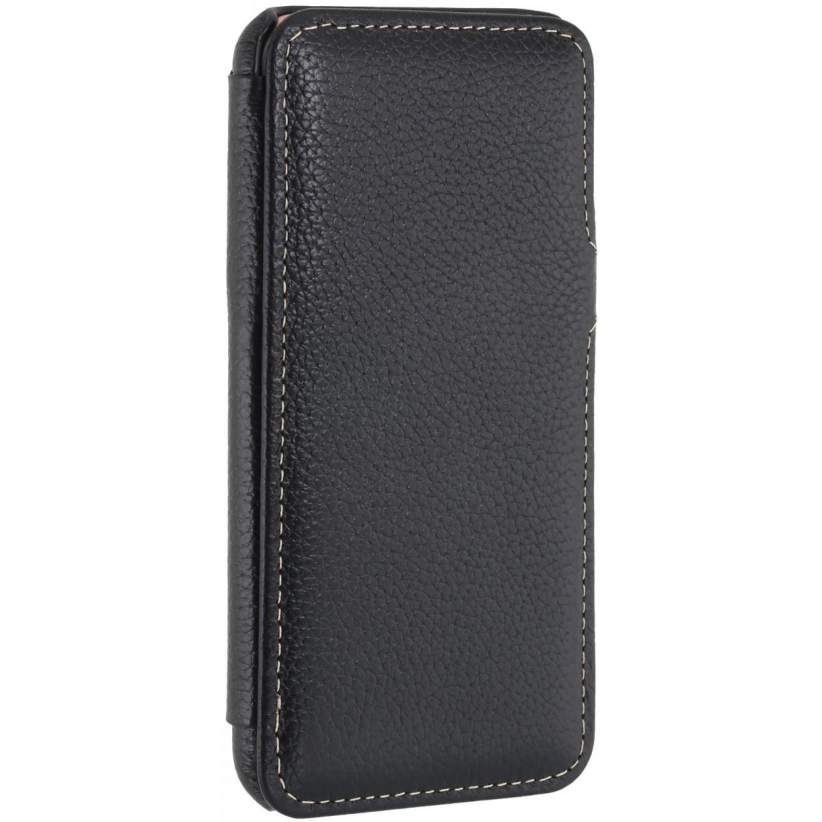 Etui iPhone 7 book type noir en cuir véritable - Stilgut