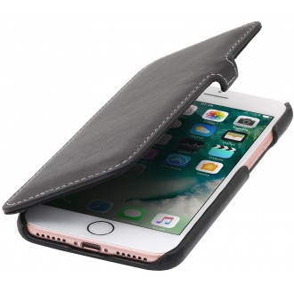 Etui iPhone 7 book type noir nappa en cuir véritable - Stilgut