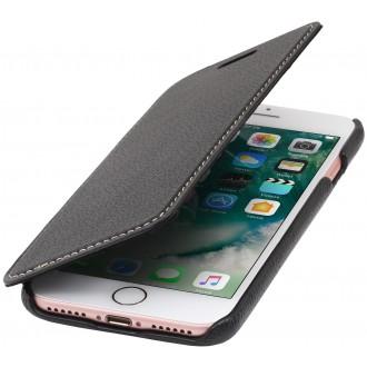 Etui iPhone 7 book type noir en cuir véritable sans clip de fermeture - Stilgut